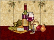 Vino and Cheese 2   - Tile Mural