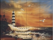 Majestic Lighthouse  - Tile Mural