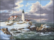 Portland Head Lighthouse - Winter - Tile Mural