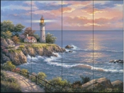SK - Sunset at Lighthouse  - Tile Mural
