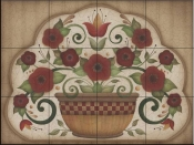 AA - Country Flowers in Pot on Brown  - Tile Mural