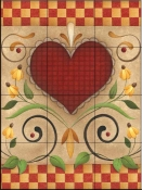 AA - Hearts & Flowers V  - Tile Mural