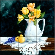 Pitcher with Tulips    - Tile Mural