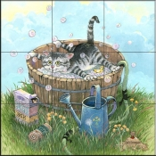 GP - Bath Time II  - Tile Mural