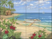 PB - Plantation Key - Rowboat - Tile Mural