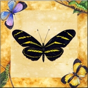 Zebra Butterfly with Background    - Tile Mural