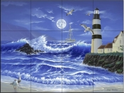 Lighthouse Romance - JW - Tile Mural
