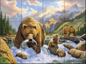 Bear Salmon Fishing - CH - Tile Mural