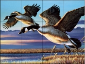 Geese Dropping In - CF - Tile Mural