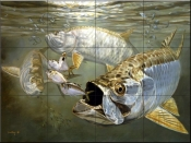 Tarpon and Mehhaden-DR - Tile Mural