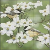 Springtime and Chickadees-WV - Tile Mural