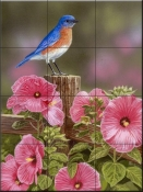 Bluebird with Hibiscus-WV - Tile Mural