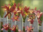 Cardinal and Lillies-WV - Tile Mural