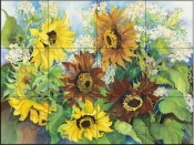 Queen Anne Lace & Sunflowers - JP - Tile Mural