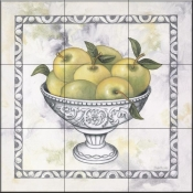 Green Apples In A Silver Bowl - DL - Tile Mural