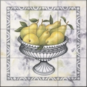 Pears In a silver Bowl-DL - Tile Mural
