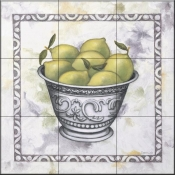 Limes In a Silver Bowl - DL - Tile Mural