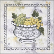 Green Grapes In a Silver Bowl - DL - Tile Mural