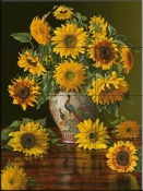 Sunflowers In A Peacock Vase-CP - Tile Mural