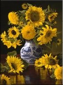 Sunflowers In Blue & White - CP - Tile Mural