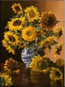 Sunflowers In A Blue Willow Vase - CP - Tile Mural