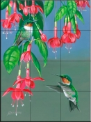 Hummers and Fuchsia-FS - Tile Mural