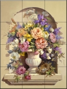 Urn with Peonies - MJ - Tile Mural