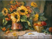 Sunflowers with copper and brass-MJ - Tile Mural