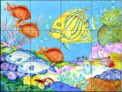 Striped Angel Fish    - Tile Mural