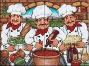 Three Happy Chefs -JK - Tile Mural