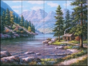 Log Cabin Retreat - SK - Tile Mural
