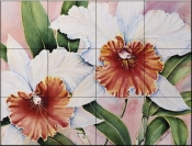 Orange Orchid    - Tile Mural