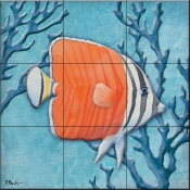 Azure Tropical Fish IV-PB - Tile Mural