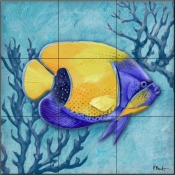 Azure Tropical Fish V-PB - Tile Mural