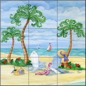 Whimsy Bay Adirondack Chairs - PB - Tile Mural