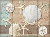 Linen Shells Collage - PB - Tile Mural