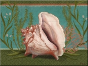 Emerald Reef Conch Shell - PB - Tile Mural