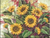Blazing Sunflowers - PB - Tile Mural