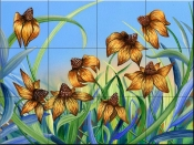 Blackeyed Susans - DF - Tile Mural