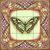 Butterfly Square 9-DF - Tile Mural