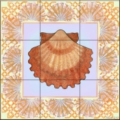 Seashell Square 6-DF - Tile Mural