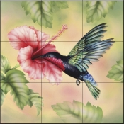 RS-Purple Throated Carib Hummingbird - Tile Mural