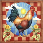 RS-Morning Glory Rooster II - Tile Mural