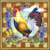 RS-Morning Glory Rooster III - Tile Mural