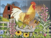 Yellow Rooster Greeting the Day-RS - Tile Mural