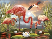 Flamingos - RS - Tile Mural