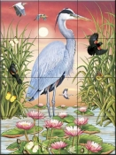 Great Blue Heron - RS - Tile Mural