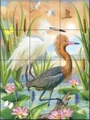 Reddish Heron Two Phases - RS - Tile Mural