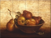 PTS - Wooden Bowl with Pears - Tile Mural