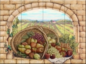 Basket and Apples - RB - Tile Mural